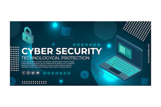 Banner modello di sicurezza informatica Vettore gratuito