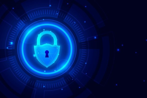 Cyber security wallpaper with futuristic elements Free Vector