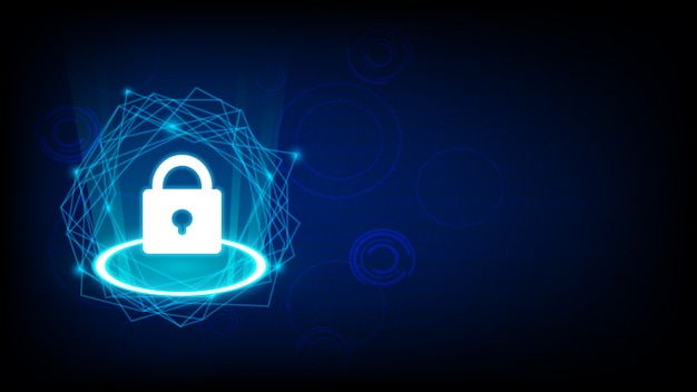 Cyber security with key icon on dark Premium Vector