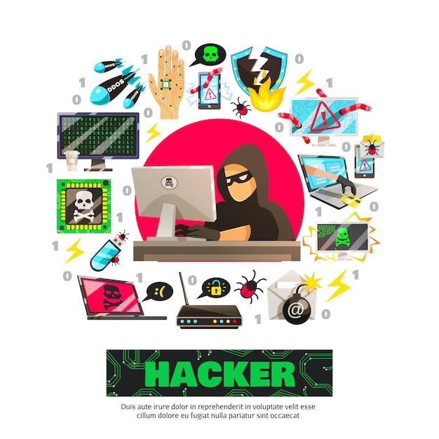 Cyber terrorist circle composition Vettore gratuito