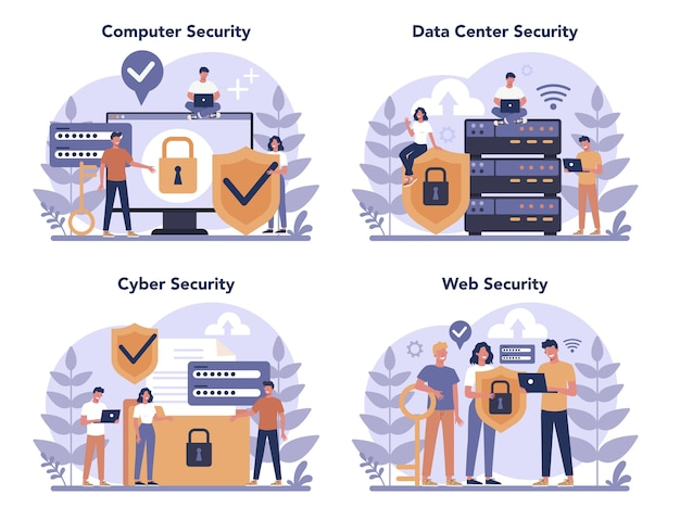 Cyber or web security concept set. idea of digital data protection and safety. modern technology and virtual crime. protection information in internet. flat vector illustration Premium Vector