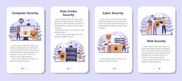 Cyber or web security mobile application banner set. idea of digital data protection and safety. modern technology and virtual crime. protection information in internet. flat vector illustration Premium Vector