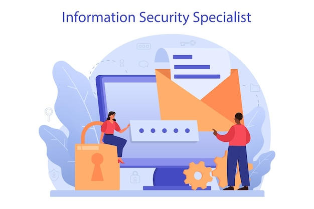 Cyber or web security specialist. idea of digital data protection and safety. modern technology and virtual crime. protection information in internet. flat vector illustration Premium Vector
