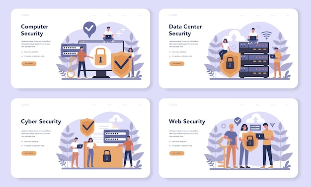 Cyber or web security web banner or landing page set Premium Vector