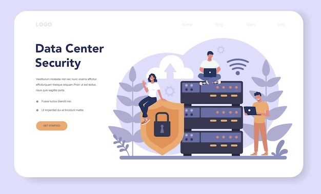 Cyber or web security web banner or landing page Premium Vector