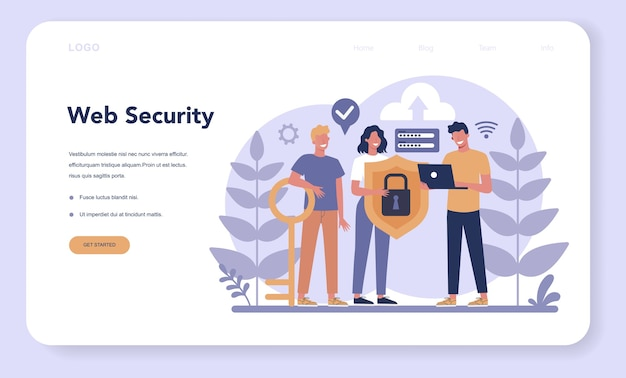 Cyber or web security web banner or landing page. Premium Vector