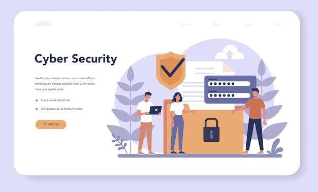 Cyber or web security web landing page. idea of digital data protection and safety. modern technology and virtual crime. protection information in internet. flat vector illustration Premium Vector