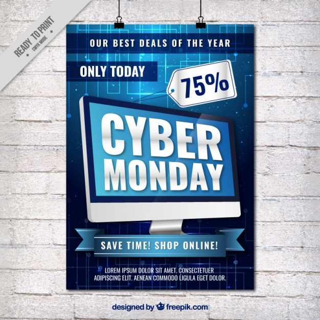 Cyber понедельник флаер с компьютером Бесплатные векторы