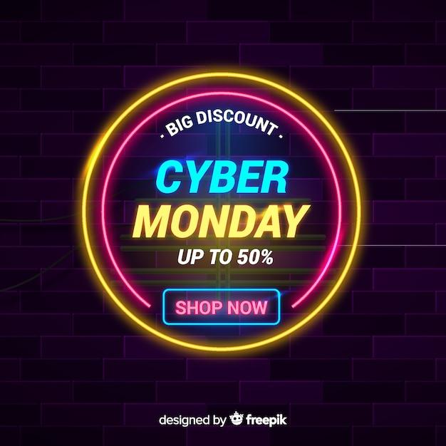 Концепция cyber понедельник с неоновым фоном Бесплатные векторы