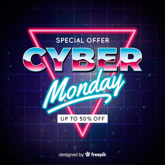 Концепция cyber понедельник с ретро футуристический фон Бесплатные векторы