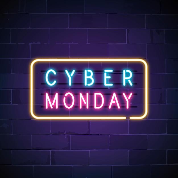 Cyber понедельник неоновая вывеска Бесплатные векторы