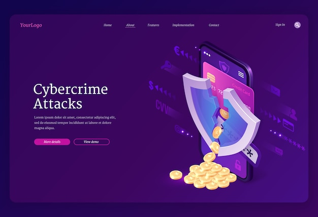 Cybercrime attack isometric landing page. smartphone screen with cracked shield and coins scatter from bank card, theft of account personal data in internet, hacking cyber crime, 3d web banner Free Vector