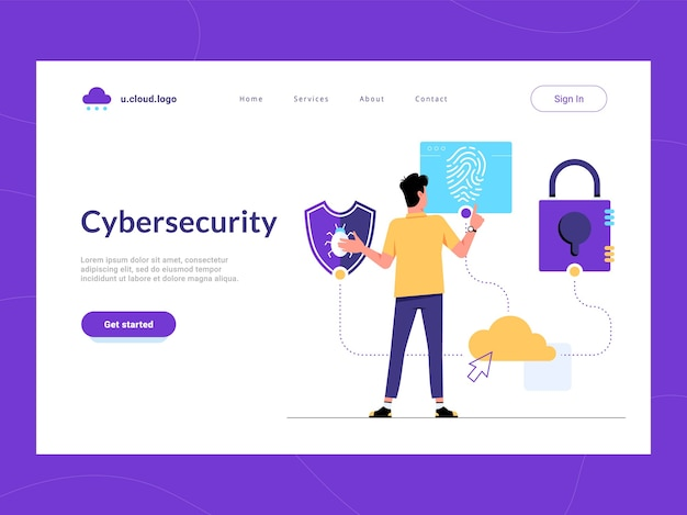 Cybersecurity landing page first screen. man looking for malware protection, user verification and information security solution for business. risk reduce and cyber attacks defense of sensitive data Premium Vector