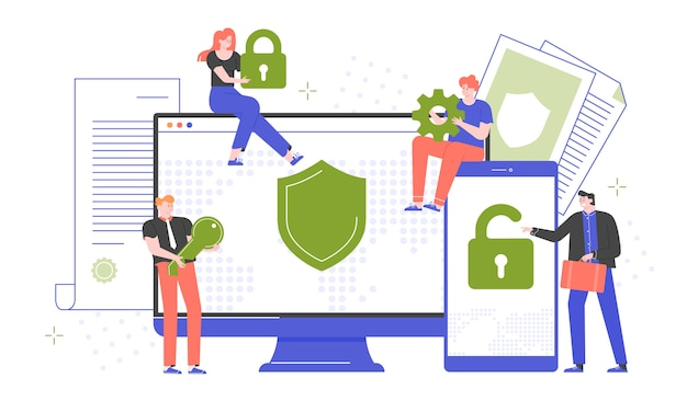 Cybersecurity, secure passwords and site registration. computer and smartphone protection by antivirus software. people with a lock, key, gear. devices screens.  flat. Premium Vector