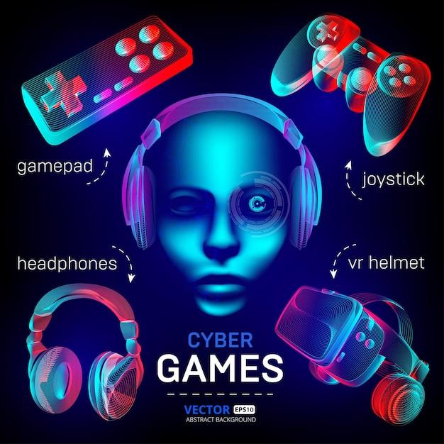 Cybersport games set - vr helmet with glasses, headphones, gamepad, joystick and robot face. Premium Vector