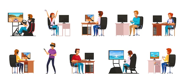 Cybersport interactive competitive computer sport games playing cartoon characters collection with virtual reality gear isolated Free Vector