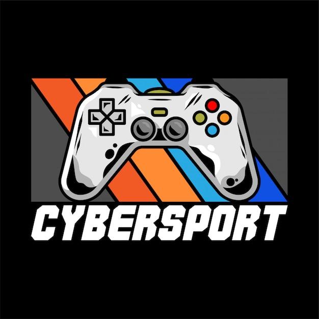 ゲーマー向けのゲームプレイ用のゲームパッドを備えたチームのcybersportロゴ。 Premiumベクター