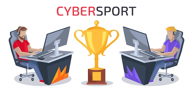 Cybersport player vs player vector illustration Premium Vector