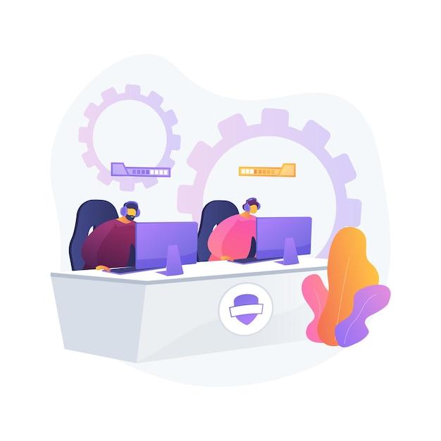Cybersport 팀 추상적 인 개념 그림입니다. e- 게임 토너먼트, 최고의 e 스포츠 팀, 사이버 스포츠 베팅, 컴퓨터 클럽, 배틀 아레나, 컵 예선, 팀 성과 무료 벡터