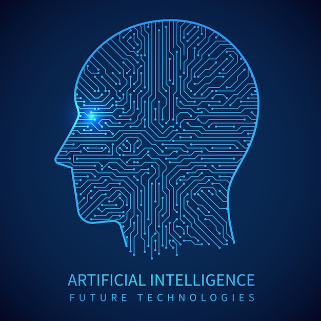 Cyborg head with circuit board inside. artificial intelligence of digital human vector concept Premium Vector