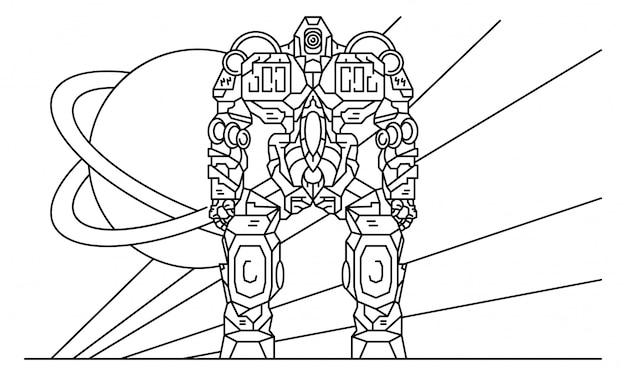 Cyborg robot-transformer concept background, outline style Premium Vector