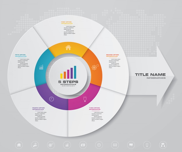 Cycle and arrow chart infographic for data presentation Premium Vector