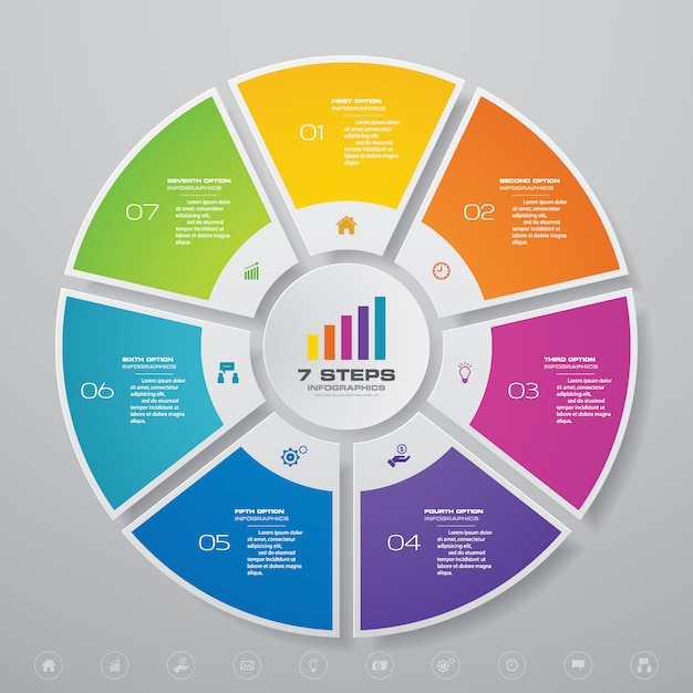 Cycle chart infographics elements for data presentation. Premium Vector
