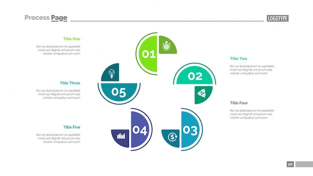 Cycle chart with five elements template Free Vector