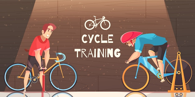 Cycle racing training cartoon Free Vector