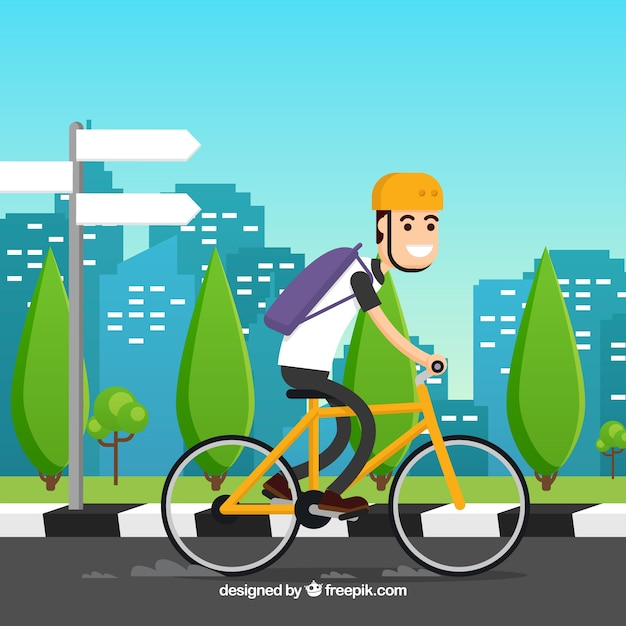 Cycling background by the city in flat\ design