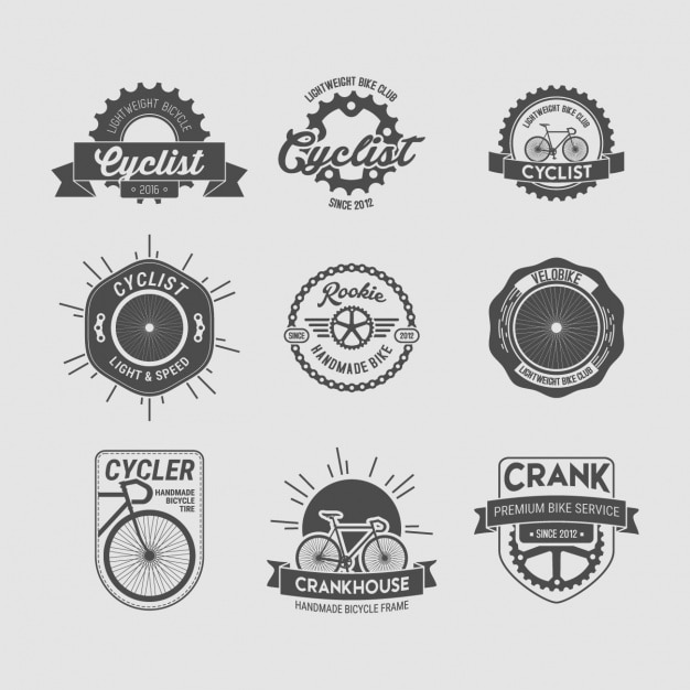 Cycling badges collection Free Vector