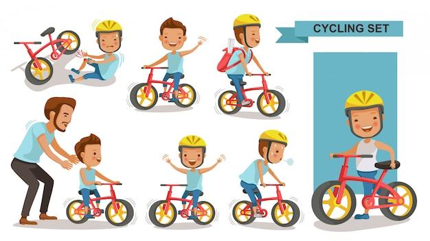サイクリング少年セット。父は息子を教えます。ヘルメットで都市の自転車に乗る子。バイクファーストおよび負傷した脚の負傷。男性ロードサイクリスト。遊び場を再生します。 Premiumベクター