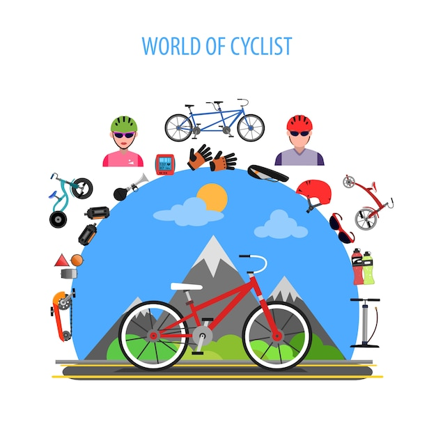Cycling concept flat Free Vector