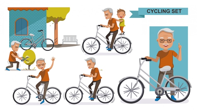 Cycling elderly cycling older set. grandfather and grandson. male relax in the  city bike, Premium Vector