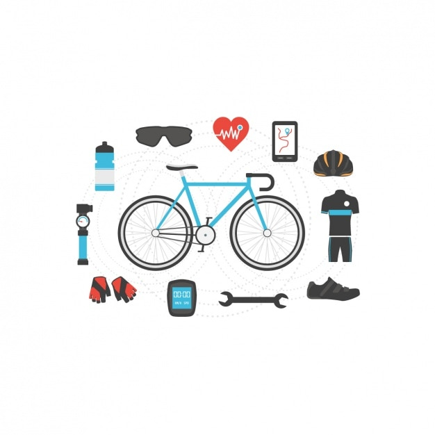 Cycling elements design Free Vector
