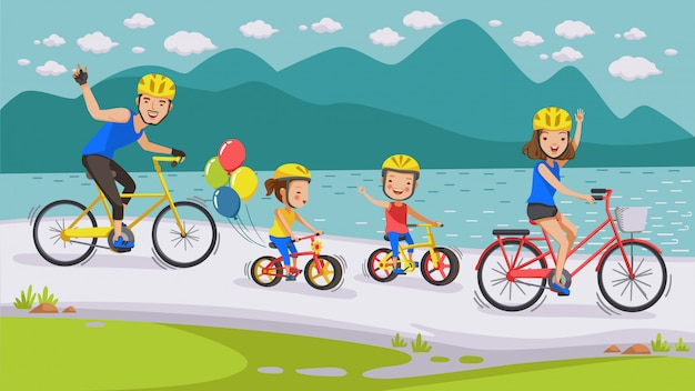Cycling family. Premium Vector