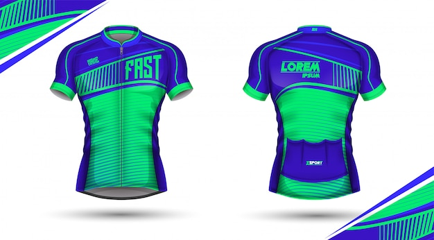 Cycling jersey front and back Premium Vector