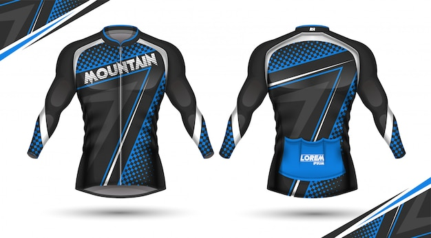Cycling jersey, front and back Premium Vector