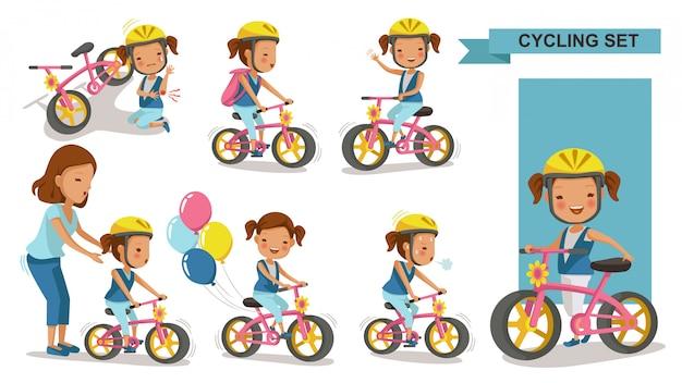 サイクリング少女。母は娘を教えます。ヘルメットで都市の自転車に乗る子。バイクファーストおよび負傷した脚の負傷。遊び場を再生します。 Premiumベクター