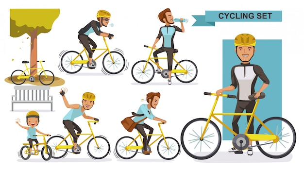 Cycling man set. male road cyclist. city bike relax in the park, exercise, go to work. biker culture concept. Premium Vector