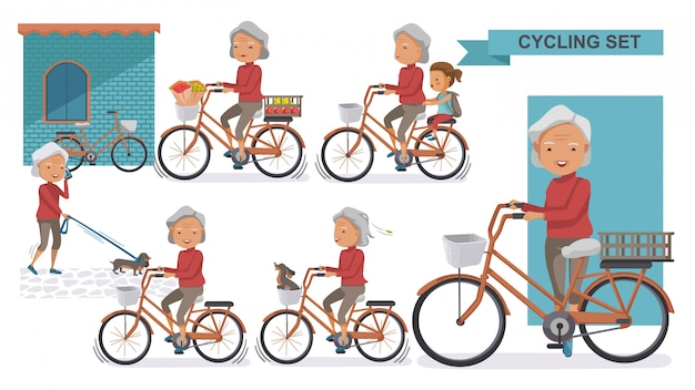 サイクリング古いサイクリング古いセット。おばあちゃんと小さな。女性は市内の自転車でリラックス、 Premiumベクター