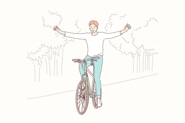 Cycling in park, freedom, lifestyle concept Premium Vector