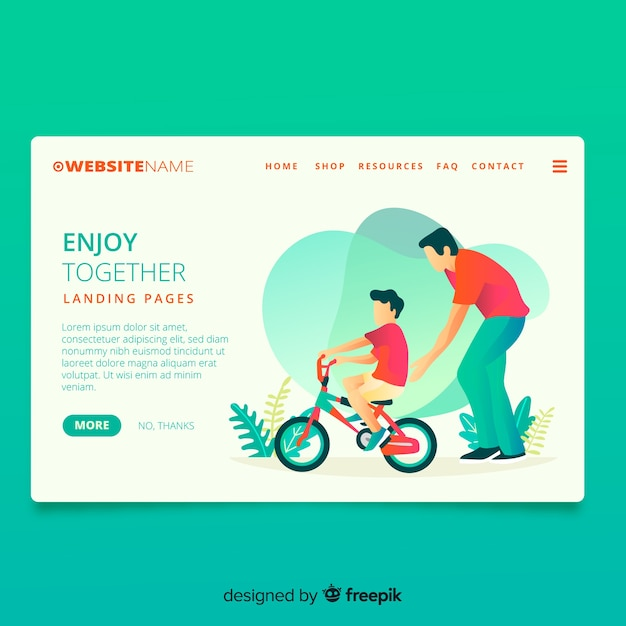 Cycling together landing page Free Vector