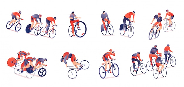Cycling tour horizontal set of bicyclists with sports equipment in various positions isolated Free Vector