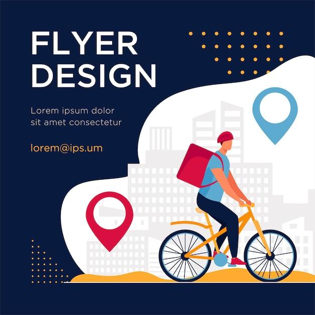 Ciclista che consegna cibo ai clienti in città. pin, percorso, modello di volantino piatto di città Vettore gratuito