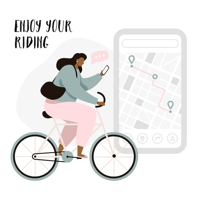 Cyclist navigation app with map and location pins. tracking mobile application concept for cyclist. woman cyclist enjoying the riding. Premium Vector
