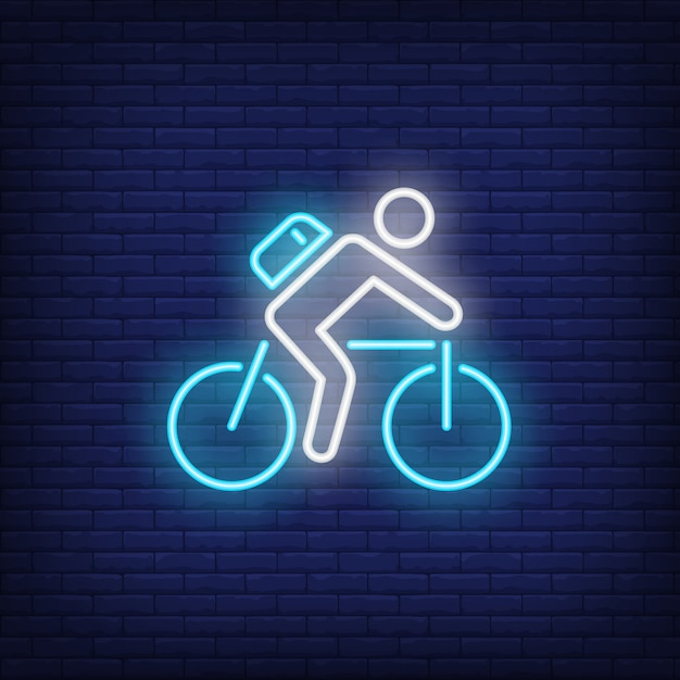 Cyclist riding bike neon sign Free Vector