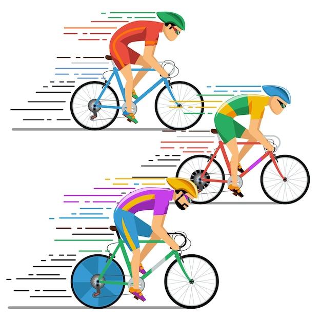 Велосипедисты, велосипедные гонки. персонажи плоский стиль дизайна. велосипедист на велосипеде, гонщик на соревнованиях Бесплатные векторы