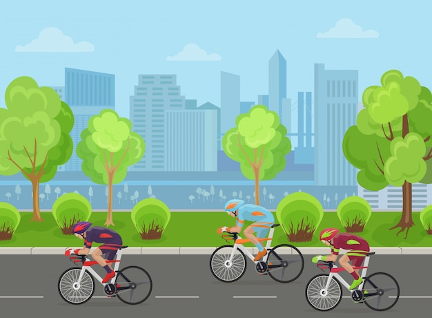 Cyclists race in city Premium Vector