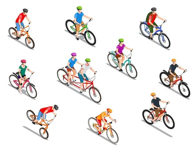 分離された等尺性のアイコンの極端な乗車タンデムと観光旅行セット中にヘルメットを持つサイクリスト 無料ベクター